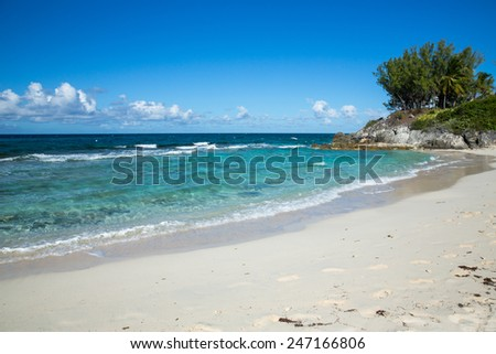 Beautiful tropical beach in the Caribbean Sea. - stock photo