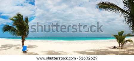 Beautiful tropical beach panorama in Punta Cana,Dominican Republic