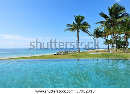 Beautiful tropical beach resort in the Bahamas - stock photo
