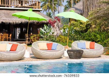 Beautiful tropical beach , Thailand . - stock photo