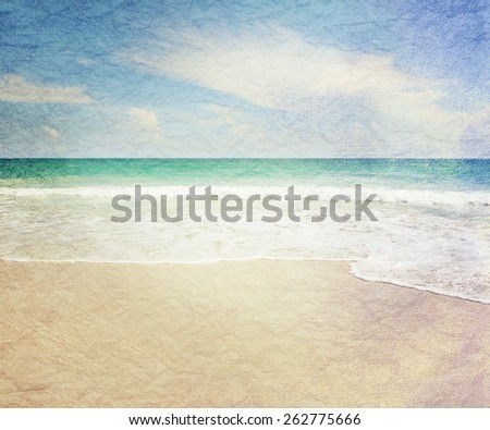 beautiful tropical beach, turquoise water and white sand, Phangan Island, Thailand. Image with  the effect of old grange paper - stock photo