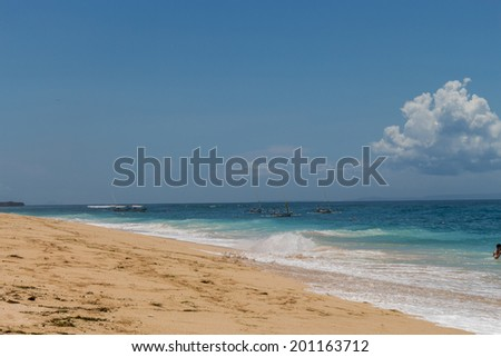 Beautiful tropical beach with lush vegetation fringing golden sand and a tranquil ocean with gentle surf breaking on the beach - stock photo