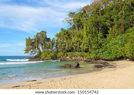 Beautiful tropical beach with lush vegetation in background - stock photo