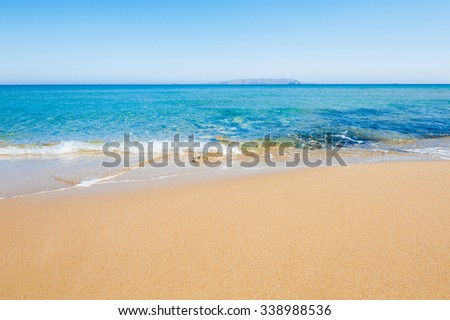 Beautiful tropical beach with turquoise water and white sand. Crete island, Greece - stock photo