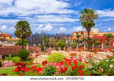 Beautiful tropical botanical gardens in La Orotava town, Tenerife, Canary Islands - stock photo