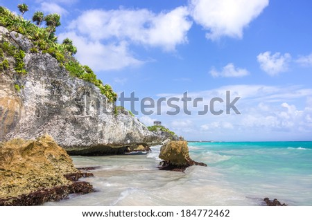 Beautiful tropical coast on a sunny day - stock photo