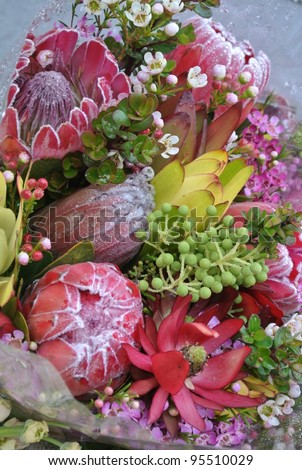 Beautiful Tropical Flowers in Flower shop - stock photo