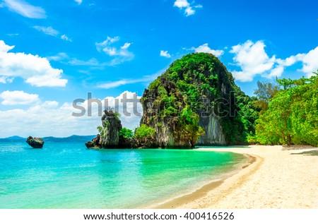 Beautiful tropical island - stock photo