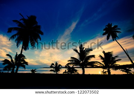Beautiful Tropical Lagoon sunset with palm trees