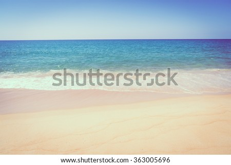 Beautiful tropical landscape beach sea and sand for vacation - Vintage filter