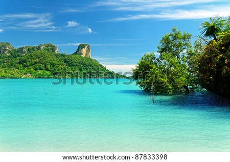 Beautiful tropical landscape. Krabi province, Thailand. - stock photo