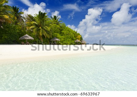 Beautiful tropical paradise in Maldives with coco palms hanging over the white and turquoise sea - stock photo