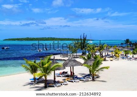 Beautiful tropical paradise island, Mauritius - stock photo