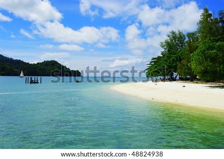 Beautiful tropical scene at a beach in Malaysia - stock photo
