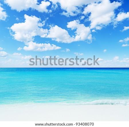 Beautiful tropical seascape. Sky and sea. - stock photo