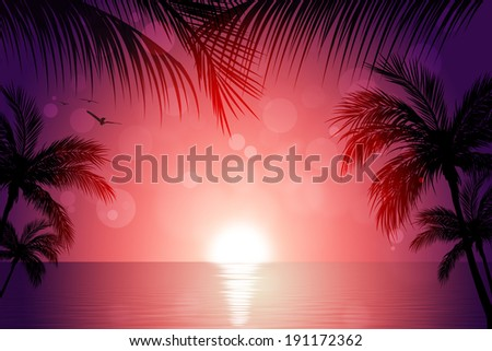 beautiful tropical sunset background with palms and sunny blurs - stock photo