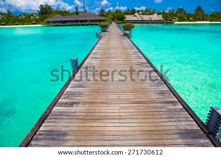 Beautiful tropical view of perfect ideal island - stock photo