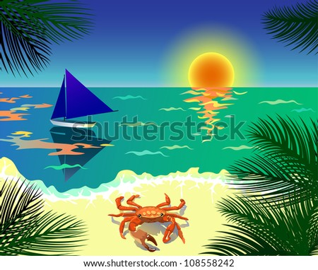 Beautiful tropical view with beach, boat, crab and palm leaves (see eps version in my portfolio) - stock photo