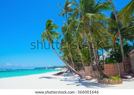 Beautiful tropical white sand beach, Boracay island, Philippines - stock photo