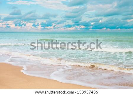 Beautiful tropical white sand beach, Thailand - stock photo