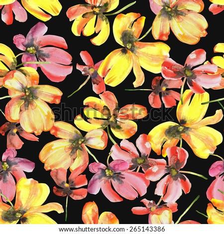 Beautiful Tulips seamless pattern, watercolor illustration. - stock photo