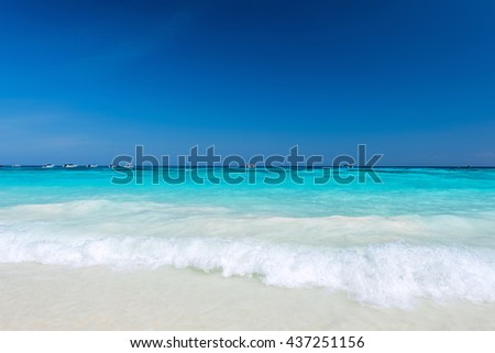 Beautiful turquoise sea with blue sky