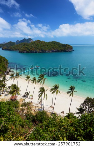 beautiful turquoise waters surrounding the islands of Ko Ang Thong, part of a national marine reserve in southern Thailand - stock photo