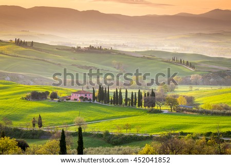 Beautiful Tuscan countryside near San Quirico d Orcia, Tuscany, Italy