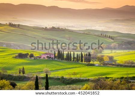 Beautiful Tuscan countryside near San Quirico d Orcia, Tuscany, Italy - stock photo