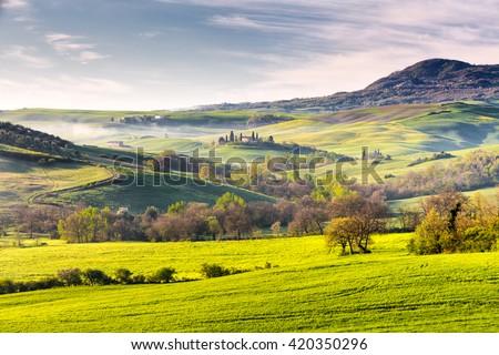 Beautiful tuscan landscape near San Quirico d Orcia area, Tuscany, Italy - stock photo
