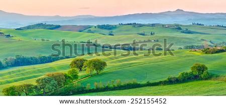 Beautiful Tuscany landscape at early morning , Italy - stock photo
