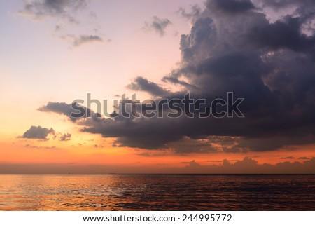 Beautiful twilight over the sea  - stock photo