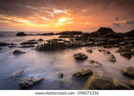 beautiful twilight sky at seashore - stock photo