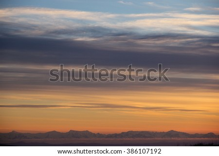 Beautiful twilight sunset cloudscape landscape  with Mount Mckinley background in the bottom. in Denali national park, Alaska - stock photo