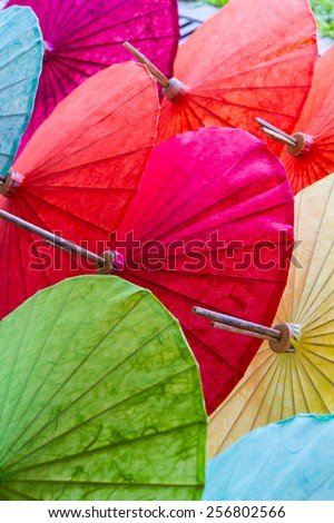 Beautiful umbrellas in Chiang Mai, Thailand. - stock photo