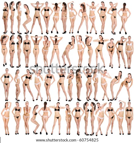 Beautiful underwear model posing on a white background - stock photo