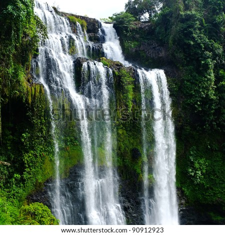 Beautiful Unesco Tad Yueang Waterfall in southern Laos