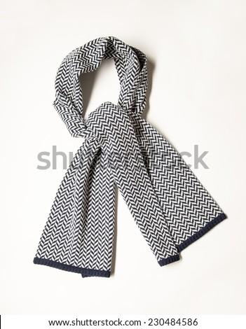 Beautiful unisexual woolen scarf on white background - stock photo