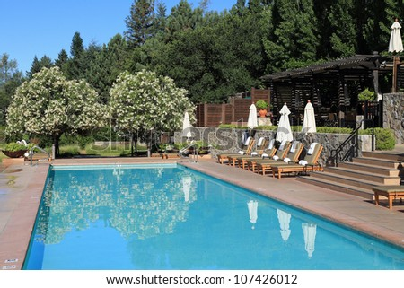 Beautiful upscale swimming pool in California - stock photo