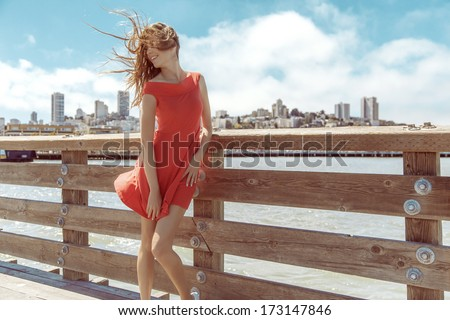 Beautiful urban woman, San Francisco - stock photo