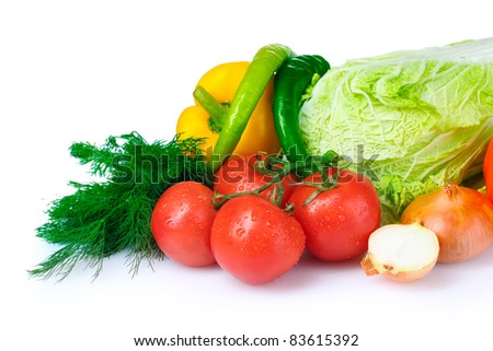 beautiful vegetables isolated on white - stock photo
