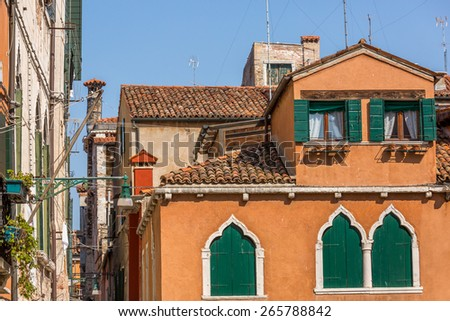 Beautiful venetian windows of a typical Venetian house, Italy - stock photo