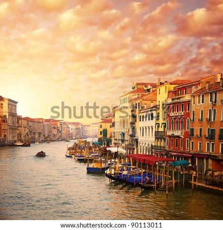 Beautiful Venice canal view - stock photo