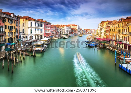 Beautiful Venice city on sunny day, wonderful water channel between gorgeous colorful old buildings, amazing Italy - stock photo