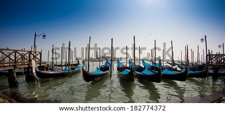 beautiful Venice, Italy with gondolas - stock photo