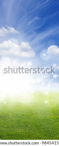 Beautiful vertical background - green field, blue sky, white clouds, bright sun