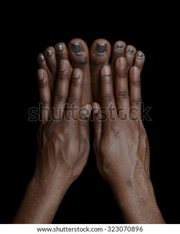 Beautiful , Very Interesting Image of Fingers and Toes. - stock photo
