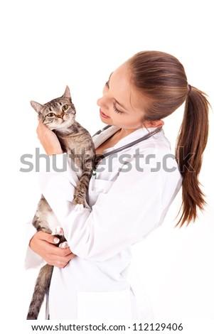 Beautiful veterinarian with cat - stock photo