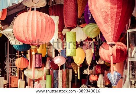 Beautiful vietnamese lanterns - stock photo