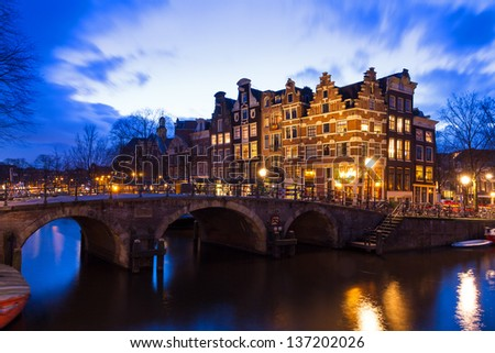 Beautiful view after sunset on the Brouwersgracht in Amsterdam, the Netherlands, a UNESCO world heritage site. - stock photo